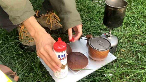 BUSHMEN_ハンモック ZEN_デイキャンプ_軽食_北海道産のビートオリゴをつけて食す